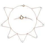 Chaînette de pied Argent 925 Perle synthétique Revêtement d´or (doré) Triangle