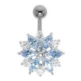 Bauchpiercing Silber 925 Chirurgenstahl 316L Swarovski Kristall Blume