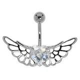Bauchpiercing Silber 925 Chirurgenstahl 316L Kristall Herz Liebe Flügel