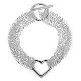 Armband Messing mit Silberbeschichtung Herz Liebe