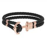 PAUL HEWITT Bracelet de plage Cuir Acier inoxydable Revêtement PVD (couleur or) Ancre corde navire