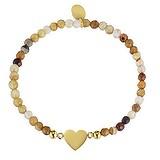 Armband Edelstahl PVD Beschichtung (goldfarbig) Achat Herz Liebe