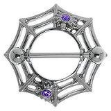 Brustpiercing Chirurgenstahl 316L Kristall Spinne Spinnennetz