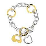 Armband Edelstahl Gold-Beschichtung (vergoldet) Herz Liebe