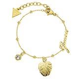 GUESS Armband Edelstahl PVD Beschichtung (goldfarbig) Zirkonia Blatt Pflanzenmuster Florales_Muster Buchstabe Zahl Ziffer