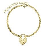 Armband Edelstahl Gold-Beschichtung (vergoldet) Herz Liebe Blume Schloss
