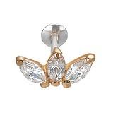 Piercing orecchio Argento 925 Rivestimento PVD (colore oro) Zircone Fiore Foglia Disegno_floreale