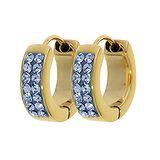 Breite Ohrringe Edelstahl PVD Beschichtung (goldfarbig) Swarovski Kristall Epoxiharz