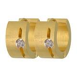Breite Ohrringe Edelstahl Zirkonia PVD Beschichtung (goldfarbig) Streifen Rillen Linien