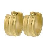 Breite Ohrringe Edelstahl PVD Beschichtung (goldfarbig) Streifen Rillen Linien
