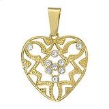 Pendentif Acier inoxydable Cristal Revêtement PVD (couleur or) Coeur C?ur Amour Dessin_tribal Motif_tribal