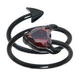 Edelstahlring Edelstahl PVD Beschichtung (schwarz) Kristall Teufelsherz Herz_mit_Hörnern Spirale