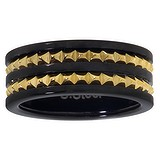 Bague de doigt Acier inoxydable Revêtement PVD noir Revêtement d´or (doré) Bandes Rayures Zébrure