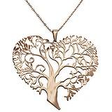 Pendentif de chaîne Acier inoxydable Revêtement PVD (couleur or) Coeur C?ur Amour Arbre arbre_de_vie