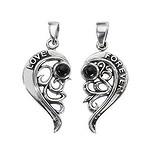Silber-Anhänger Silber 925 Onyx Herz Liebe Love Liebe Ewig Schlaufe Endlos