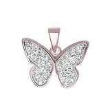 Silber-Anhänger Silber 925 Kristall PVD Beschichtung (goldfarbig) Schmetterling Sommervogel