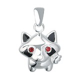 Silber-Anhänger Silber 925 Kristall Email Tierfell Tiermuster Fellmuster