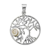 Pendentif en coquillage Argent 925 Coquillage Shiva Eye Feuille Motif_floral Spirale
