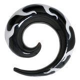 Plug Buffalo Horn Kunstharz Spirale Flamme Feuer Tribal_Zeichnung Tribal_Muster