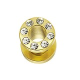 Plug Chirurgenstahl 316L Swarovski Kristall Gold-Beschichtung (vergoldet)