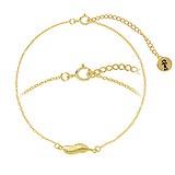 Bracelet fin Argent 925 Revêtement d´or (doré) Plume