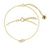 Bracelet fin Argent 925 Revêtement d´or (doré) Coeur C?ur Amour