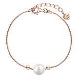 EraOra Bracelet fin Argent 925 Perle synthétique Revêtement PVD (couleur or)