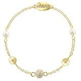 Bracelet fin Argent 925 Cristal Swarovski Revêtement d´or (doré)