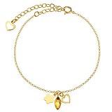 Bracelet fin Argent 925 Revêtement PVD (couleur or) Cristal Swarovski