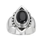 Fingerring Silber 925 Schwarzer Onyx Tribal_Zeichnung Tribal_Muster