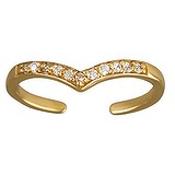 Zehenring Silber 925 Gold-Beschichtung (vergoldet) Kristall