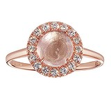Anello Argento 925 Rivestimento PVD (colore oro) Zircone Quarzo rosa