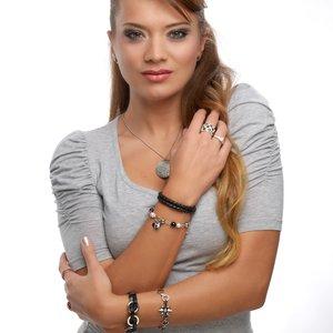 Bracciale Acciaio inox Perla sintetica Rivestimento PVD (nero) Cristallo Cuore Amore