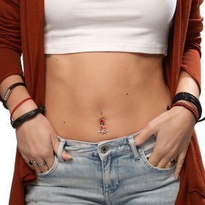 Bellypiercing Surgical Steel 316L Rhodium plated brass Crystal Heart Love Love Affection