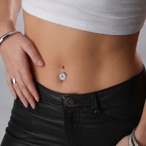 Bellypiercing Surgical Steel 316L Silver 925 Crystal Flower
