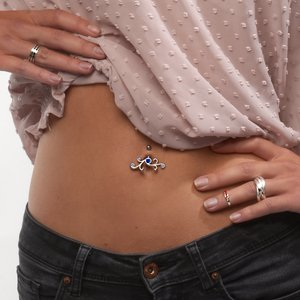 Bellypiercing Titanium Rhodium plated brass Crystal Tribal_pattern