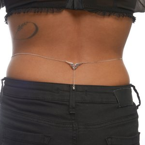 Belly chain silver-plated brass Crystal Tribal_pattern Heart Love