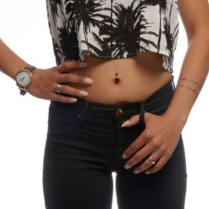 Bellypiercing Surgical Steel 316L Black PVD-coating zirconia