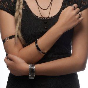 Bracelet rigide Acier inoxydable Émail Crâne Caboche Os