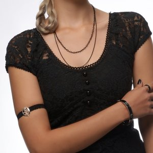 Arm band steel-plated brass Cotton Rose Flower