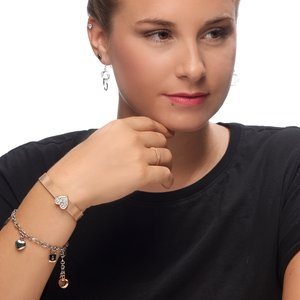 Bracelet Stainless Steel Gold-plated Crystal Heart Love