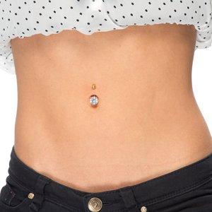 Piercing ventre Metallo chirurgico 316L Dorato Zircone