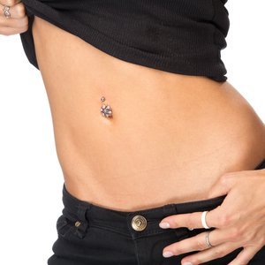 Bellypiercing Surgical Steel 316L Silver 925 Swarovski crystal Flower