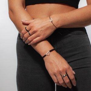 Bracelet de plage Argent 925 Cristal Nylon Coeur C?ur Amour