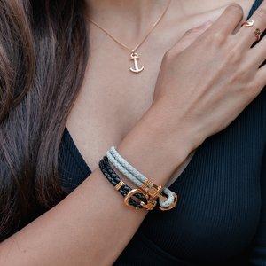 PAUL HEWITT Geknüpftes Armband Leder Edelstahl PVD Beschichtung (goldfarbig) Anker Seil Schiff