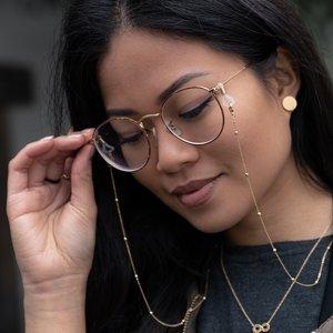 Catena per occhiali Acciaio inox Rivestimento PVD (colore oro) Plastica