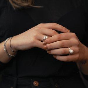 Fingerring Silber 925 Süsswasserperle