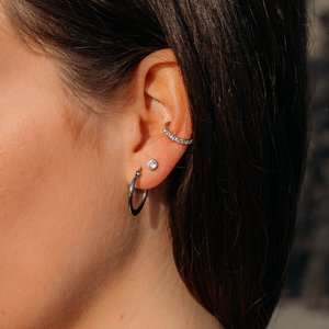 Clip oreja Latón al rodio Cristal