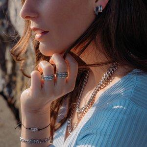 Breite Ohrringe Edelstahl Streifen Rillen Linien