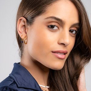 Ohrhänger Chirurgenstahl 316L PVD Beschichtung (goldfarbig) Lapislazuli